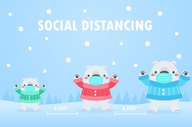De berenfamilie over de hele wereld draagt maskers en laat sociale ruimte over om virussen te voorkomen.