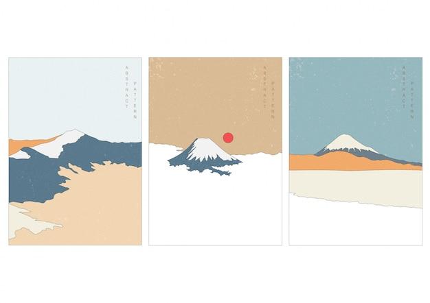 De bergachtergrond van fuji met kunstlandschap. het abstracte malplaatje van de aardkunst met grungetextuur. beroemde bezienswaardigheid in japan.