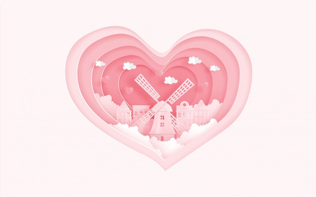 De beroemde oriëntatiepunten van amsterdam, holland in liefdeconcept met hartvorm. valentijnsdag kaart