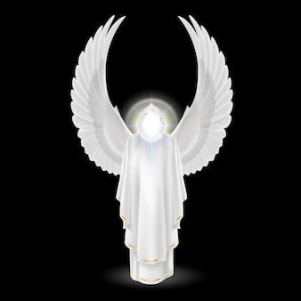 De beschermengel van de god in wit met vleugels omhoog op zwarte achtergrond. aartsengelen afbeelding. religieus concept