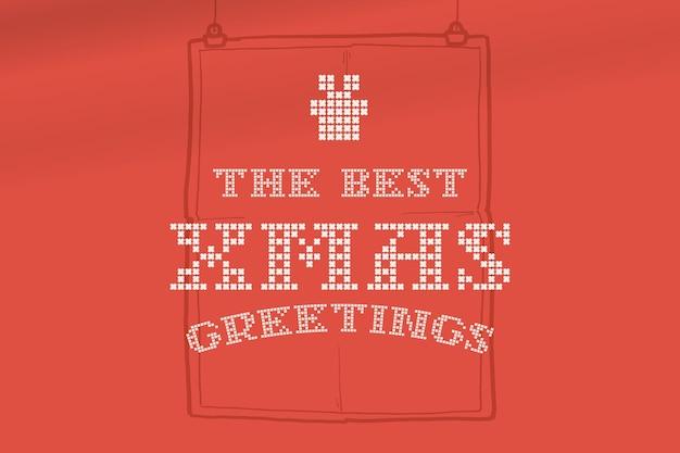 De beste kerstbelettering is gemaakt van dikke ronde breisels platte stijlbord met een reeks pictogrammen