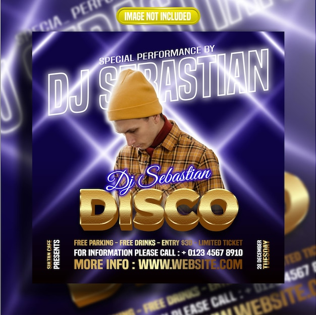 De beste muziek en disco met een licht bericht op sociale media op de achtergrond