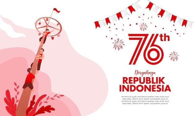 De bestemmingspagina van de onafhankelijkheidsdag van indonesië met de illustratie van het traditionele spelenconcept. dirgahayu republiek indonesië vertaalt naar de onafhankelijkheidsdag van de republiek indonesië