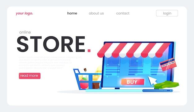 De bestemmingspagina van de online winkel, een geweldig ontwerp voor elk doel. een platte illustratie.