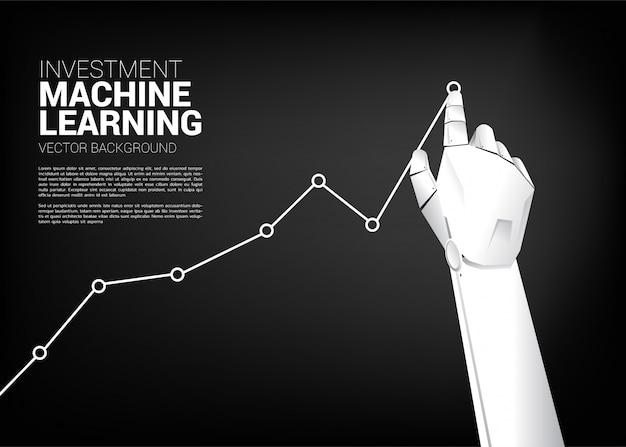 De beweging van de hand van de robot trekt bedrijfsgrafiek hoger.