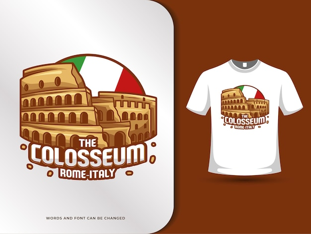De bezienswaardigheden van het colosseum en de vlag van italië illustratie met t-shirt ontwerpsjabloon