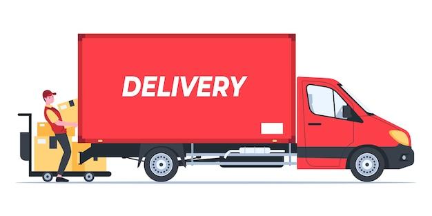 De bezorger legt het pakket op de vrachtwagen