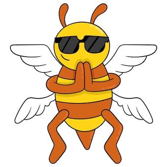 De bij vliegt het dragen van leuke zonnebril, vectorillustratieart. doodle pictogram afbeelding kawaii.