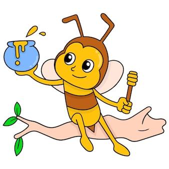 De bijen zitten op een boomtak die natuurlijke honing nemen, vectorillustratieart. doodle pictogram afbeelding kawaii.