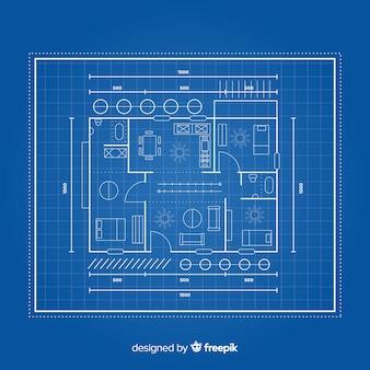 De blauwdruk van een huis lag