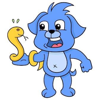 De blauwe hond had een bang gezicht. zijn hand was verpakt in een giftige slang, vectorillustratiekunst. doodle pictogram afbeelding kawaii.