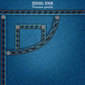 De blauwe kleur van de denimtextuur met zak en klinknagels, jeansachtergrond