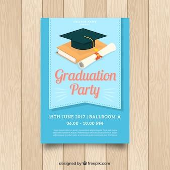 De blauwe uitnodiging van de graduatiepartij