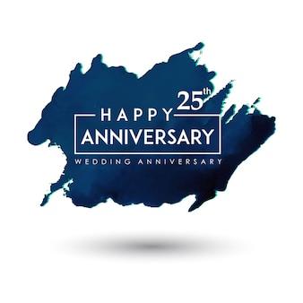 De blauwe waterverf ploetert het ontwerp van het huwelijksverjaardag
