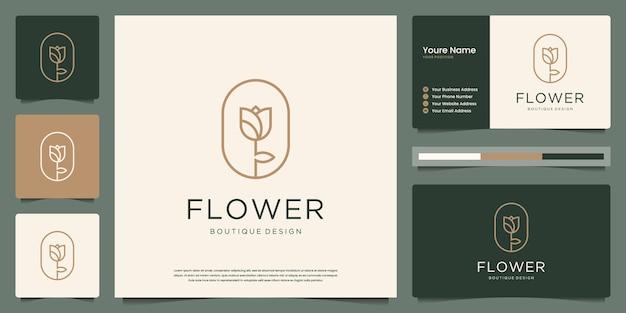 De bloem nam de stijl van de lijnkunst voor bloemenwinkel, schoonheid, kuuroord, huidzorg, salon en visitekaartje toe
