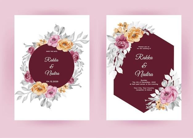 De bloem van de huwelijksuitnodiging nam kastanjebruin en oranje roze toe Premium Vector