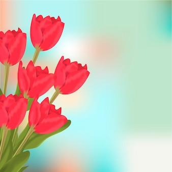 De bloemboeket van de lente rood tulpen.