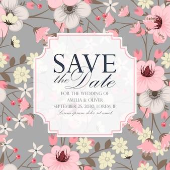 De bloemen elegante huwelijksuitnodiging nodigt kaart vectorontwerp uit