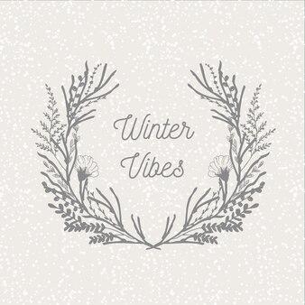 De bloemenlaurier van de winter met sneeuwachtergrond