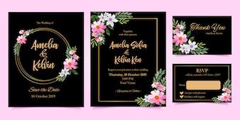De bloemenuitnodiging van het waterverf elegante huwelijk dankt u rsvp reeks