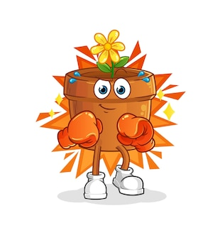 De bloempot boxer cartoon mascotte mascotte. cartoon mascotte mascotte