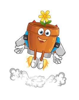 De bloempot met jetpack-mascotte. tekenfilm