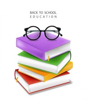 De boeken stapelen illustratie, terug naar schoolstudie