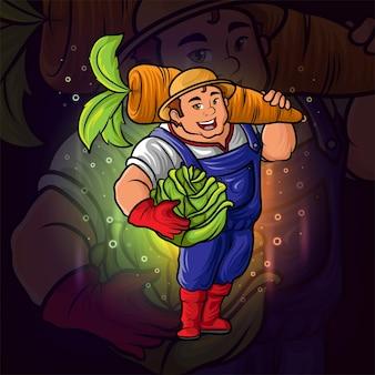 De boer met het esport-mascotteontwerp van kool en wortel van illustratie