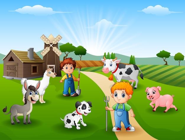 De boeren houden dieren op de boerderij