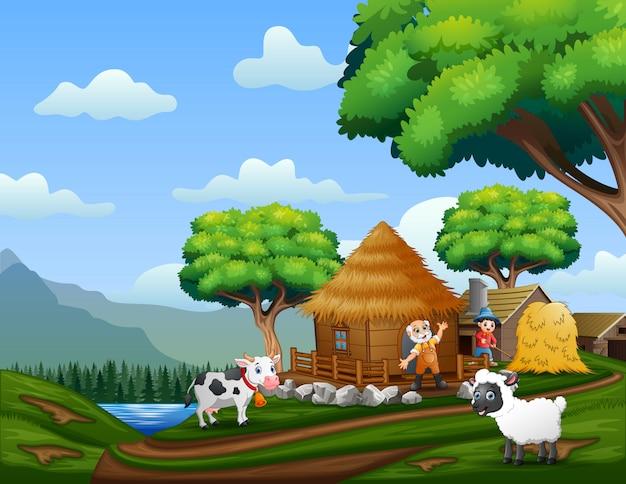 De boeren werken op de boerderij