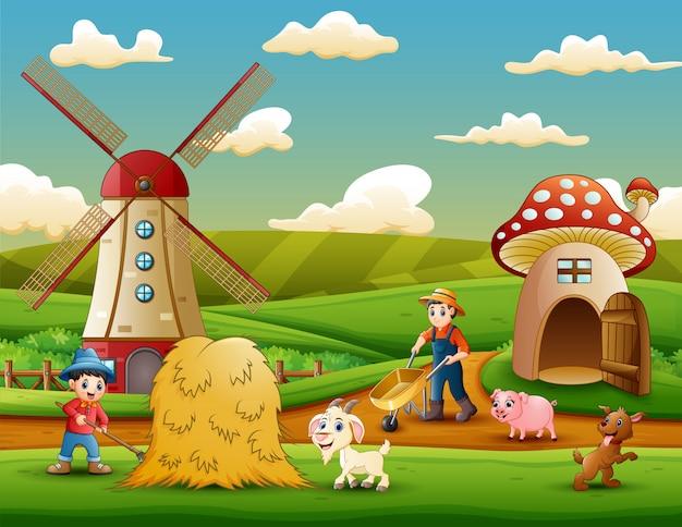De boeren werkten op de boerderij