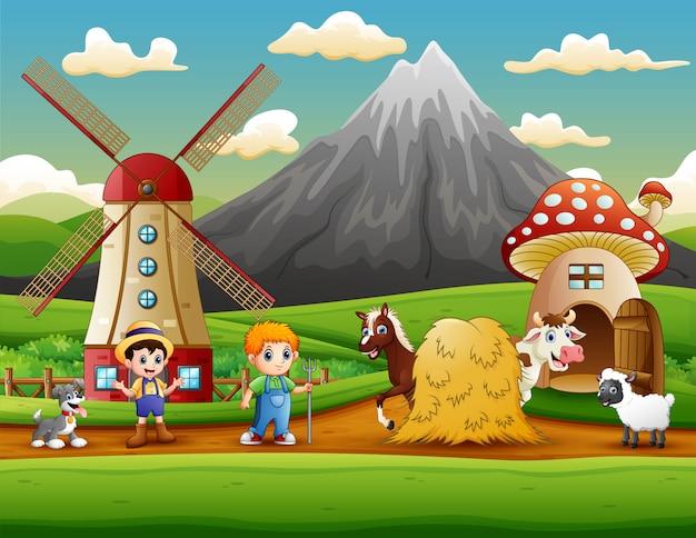 De boerenactiviteit op de boerderij