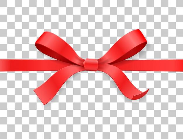 De boogknoop en lint van het rode kleurensatijn op witte achtergrond. proficiat met je verjaardag, kerst, nieuwjaar, bruiloft, valentijnskaart of doospakket. bovenaanzicht van de illustratie van de close-up