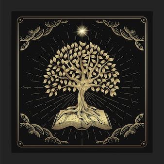 De boom der kennis met oude boeken in luxe handgetekende graveerstijl