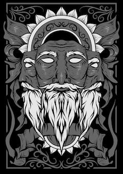 De boom oude man gezicht illustratie vector kunst