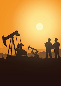 De booreilandindustrie silhouetteert achtergrond, illustratie.