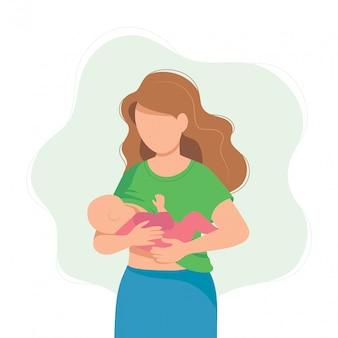 De borst gevende illustratie, moeder die een baby met borst voeden.