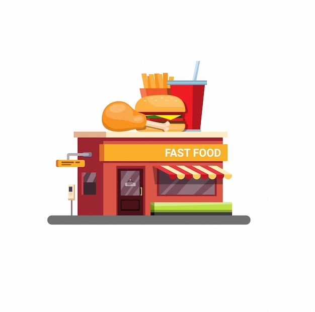 De bouw van het snel voedselrestaurant met aandrijving door de dienst in vlakke die stijlillustratie op witte achtergrond wordt geïsoleerd
