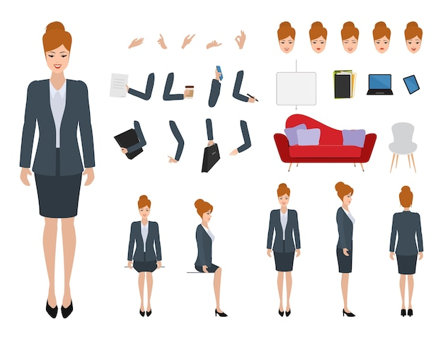 De bouwer van het bedrijfsvrouwenkarakter voor verschillend stelt