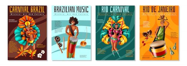 De braziliaanse jaarlijkse carnaval-realistische kleurrijke die affiches van festivalvieringen met traditionele muzikale instrumentenkostuums worden geplaatst isoleerden vectorillustratie