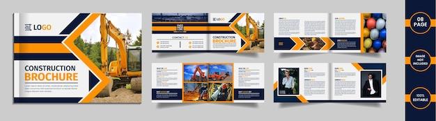 De brochureontwerp van het bouwlandschap met geometrische gele en blauwe kleurenvormen op een witte achtergrond.