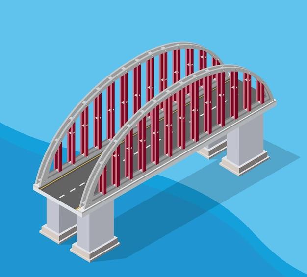 De brug van stedelijke infrastructuur is isometrisch voor games, toepassingen van inspiratie en creativiteit. stadsvervoerorganisatie-objecten in 3d-dimensionale vorm
