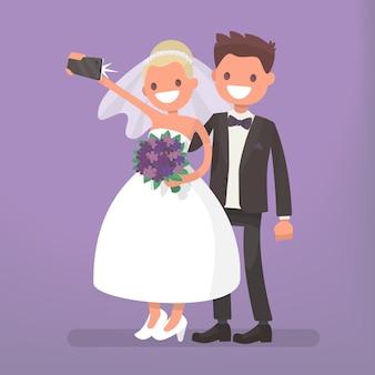 De bruid en bruidegom maken selfie. foto van gelukkige jonggehuwden