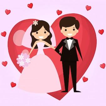 De bruidegom en de bruid zijn gelukkig op de huwelijksdag.