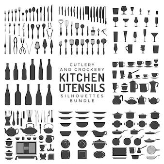 De bundel van keukengereisilhouetten