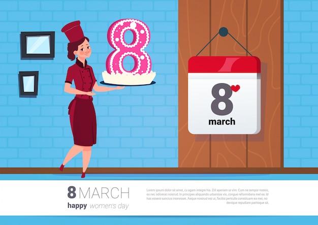 De cake van de meisjesholding voor vakantie vrolijke de groetenbanner van de 8 maartvakantie gelukkige vrouwen