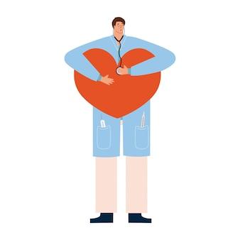 De cardioloog luistert met een stethoscoop naar het hart en zorgt voor een ambulance