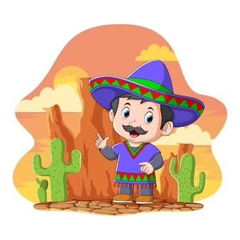 De cartoon mexicaanse man gebruikt de blauwe sombrero die onder de oranje lucht staat