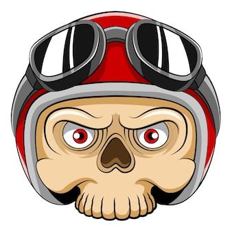 De cartoon van de dode schedel met de rode helm en zonnebril voor de mascotte fiets