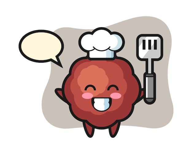 De cartoon van de gehaktbalchef-kok kookt